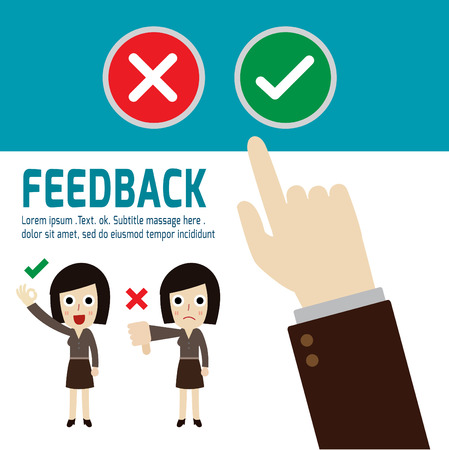 feedback: Positive feedback and negative feedback,hand choosing positive review,vector,flat icons design,illustration,customer review concept,people cartoon character,