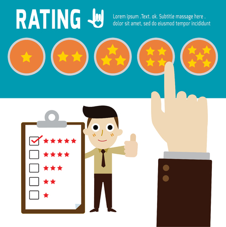 to review: rating,hand choosing star positive review,vector,flat icons design,illustration,customer review concept,