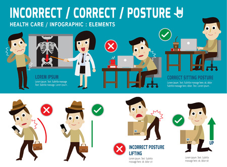 woman at work: orrect and incorrect posture, infographic element,sitting,lifting,walk,health care concept,vector,flat icons design,medical illustration Illustration
