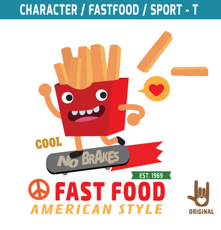 cartoon mascot: French fries mascot character design, fastfood concept, t-shirt graphics vector,flat,icon,design, skater,sport,illustration,funky,snack,cartoon,