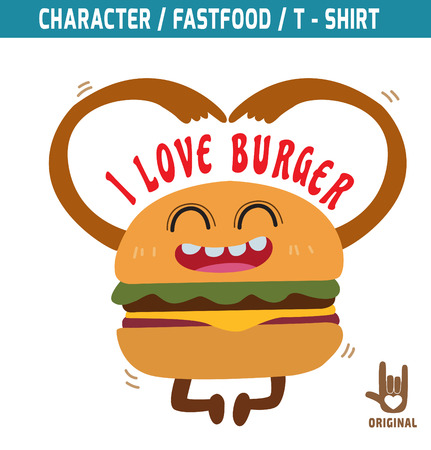 snack cartoon: burger mascot character design,i love burger,fastfood concept, t-shirt graphicsvector,flat,icon,design,illustration,funky,snack,cartoon,mutant,