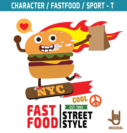burger: burger mascot character design,fastfood concept, t-shirt graphicsvector,flat,icon,design,skater,sport,illustration,funky,snack,cartoon,
