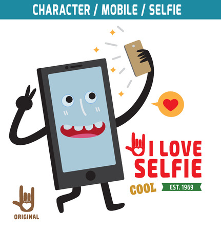 t cell: selfie, mobile mascot character design