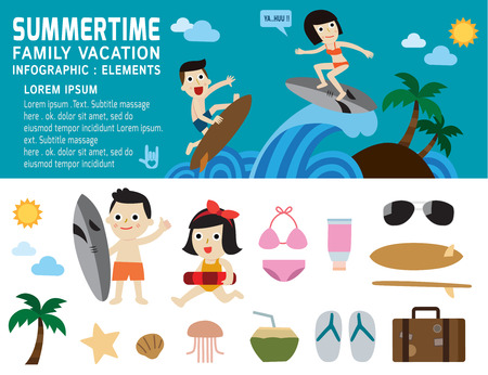family vacation: summertime,family vacation,infographic elements,vector,flat, icons, design,illustration,people cartoon character,beach, icon, concept,holiday,