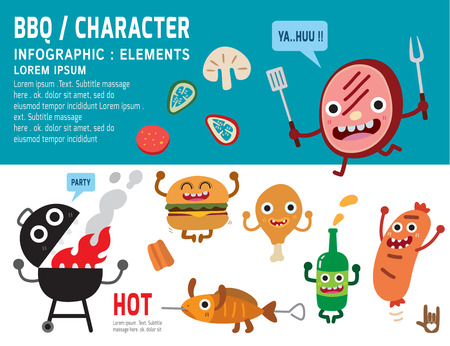 bbq: bbq, mascot character design,infographic,elements,picnic concept,vector,flat,icon,design,grill,meal,illustration,funky,cartoon,holiday,