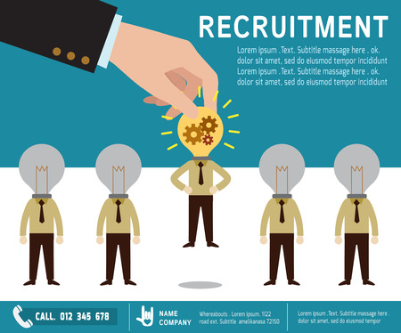 business group: recruitment.  Picking the right candidate professional . Isolated on backgroundFlat design vector illustration concept.