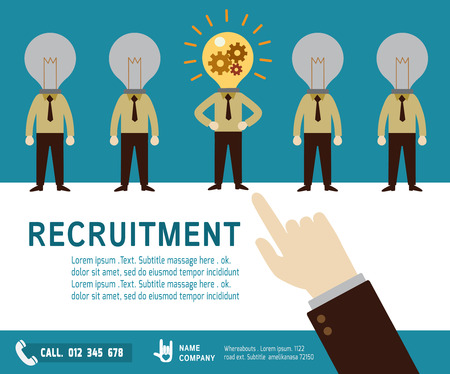 recruitment icon: recruitment.  Hand pointing to arab businessman.good choice concept.Isolated on background.flat design vector illustration concept.