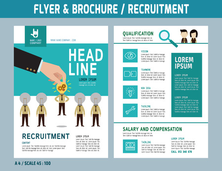 recruiting: Recruitment flyer design vector template in A4 size.Brochure and Layout Design.business concept.