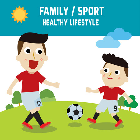 father with child: family father son playing football.elements. sport concept.vector. flat design. illustration