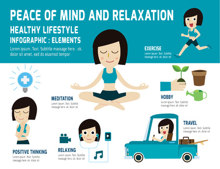 La paz de la mente a relajarse lifestyle.meditating sano, a aliviar la salud, elemento infografía, el concepto de cuidado de la salud, vector, diseño iconos plana, ilustración médica Ilustración de vector
