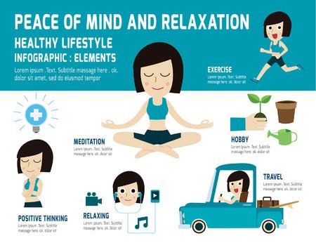 La paz de la mente a relajarse lifestyle.meditating sano, a aliviar la salud, elemento infografía, el concepto de cuidado de la salud, vector, diseño iconos plana, ilustración médica Foto de archivo - 43218198