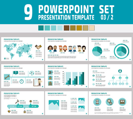 powerpoint: Set of powerpoint multipurpose business presentation template.Infographic element.business concept.flyer layout design.brochure modern Style.flat icons vector illustration. Illustration
