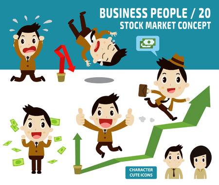 loss leader: set of  businessman character cartoon design.infographic elements.stock market concept.flat icons vector illustration.