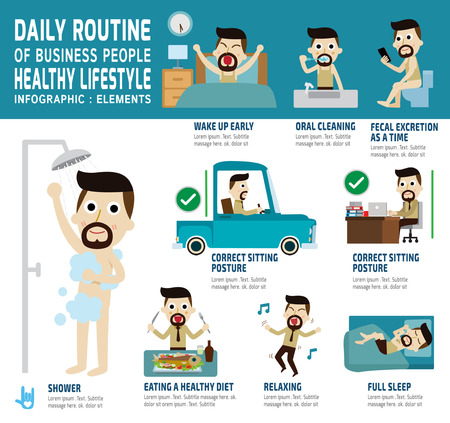 bañarse: rutina diaria de gente de negocios feliz. iconos planos infografía concept.vector cuidado element.health ilustración trabajo design.daily gráfico.