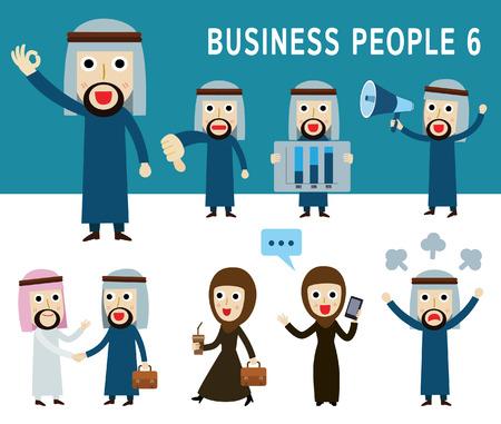 hombre arabe: Conjunto de cuerpo completo empresarios �rabes. concepto de personaje de dibujos animados personas. plana iconos modernos dise�o ilustraci�n. en el fondo blanco. al este arab.middle.