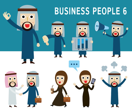 arab: Set of full body arab business people. people character cartoon concept. flat modern icons design illustration. on white background. arab.middle east.