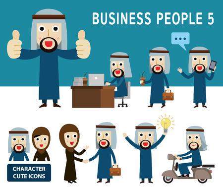empresarios: Conjunto de cuerpo completo de dibujos animados árabe carácter people.people empresario concept.flat diseño de iconos modernos illustration.on background.arab blanco. medio este. Vectores