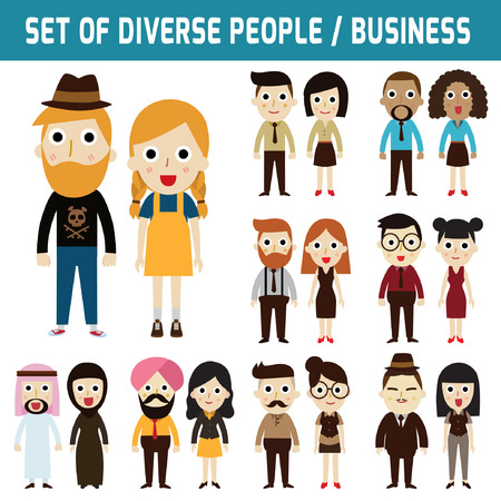 nationalities: Set of full body diverse business people.Different nationalities and dress styles.people character cartoon concept.flat modern design. on white.asian,arab,african,european,american,china,