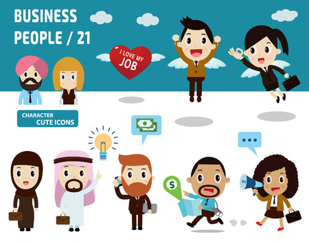 teamwork cartoon: Set of full body diverse business people.Different nationalities and dress styles.isolated on white background.people character cartoon concept.flat modern  icons vector illustration.