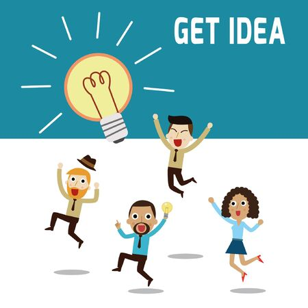 teamwork cartoon: New bright idea form teamwork human.thinking about success solution.business people  character cartoon concept.flat modern icons design style vector illustration.