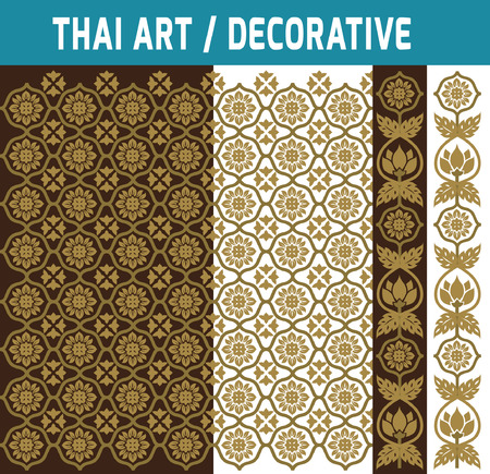 thai decor: Set of Thai art element.Decorative motifs.Ethnic Art. Flat modern design style vector illustration Thai artbackdrop concept.