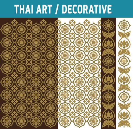thai art: Set of Thai art element.Decorative motifs.Ethnic Art. Flat modern design style vector illustration Thai artbackdrop concept.