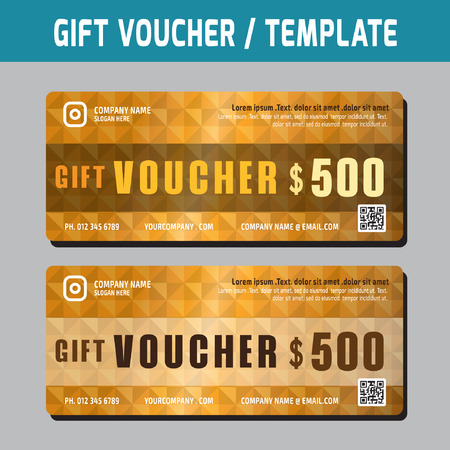 marketting: Gift Voucher template.Vector illustration.gold color concept.