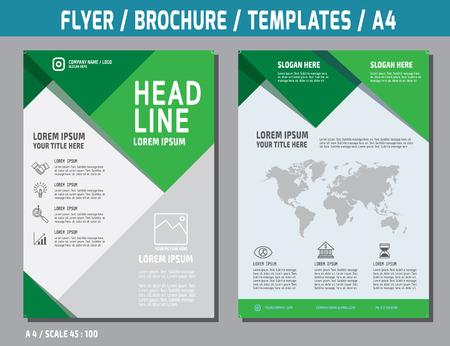 チラシ デザイン ベクトル テンプレート A4 size.brochure ブックレット カバー年次レポートのレイアウトに。ビジネス概念図。