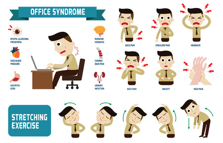 work on computer: Office syndrome Infographics.health concept. infographic element.vector flat icons cartoon design. illustration.on white background. isolated.