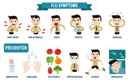 illness: flu symptoms and Influenza.health concept.infographic element.vector flat icons cartoon design.illustration.on white background. isolated. Illustration