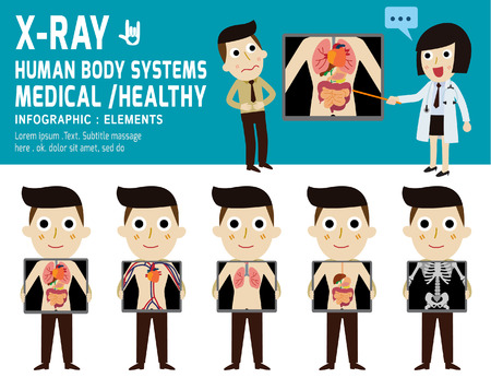 cartoon human: x-ray screen showing internal organs and skeleton.human body systems,digestive.health concept. infographic element.vector flat cartoon design. illustration.on white and blue background