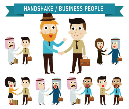 asian business woman: shaking hand.  businessman people.partner.business concept.flat icons vector cartoon character design.illustration.on white background.isolated
