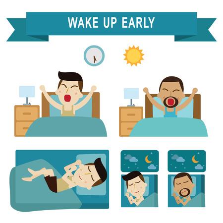 vroeg wakker, vol sleeping.daily routine van mensen uit het bedrijfsleven. infographic element.vector moderne vlakke pictogrammen grafische design.daily illustration.african american.caucasian people.Isolated op wit