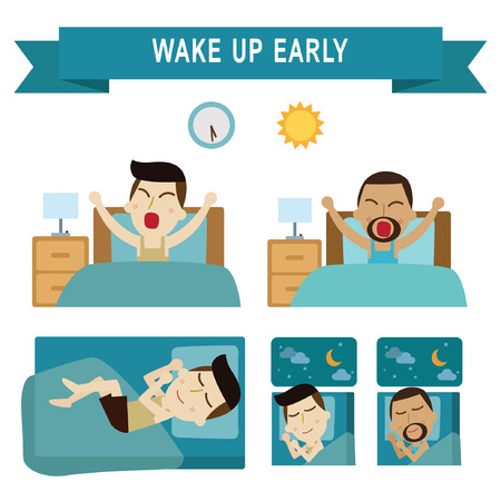 wake: wake up early,full sleeping.daily routine of business people. infographic element.vector modern flat icons graphic design.daily illustration.african american.caucasian people.isolated on white