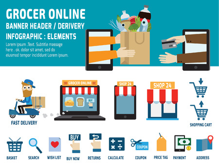 abarrotes: comestibles negocios online.delivery.ecommerce iconos planos element.vector concept.infographic encabezado design.banner gráfico illustration.isolated sobre fondo blanco y azul.