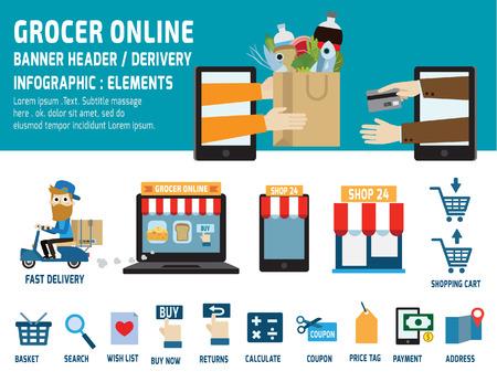 abarrotes: comestibles negocios online.delivery.ecommerce iconos planos element.vector concept.infographic encabezado design.banner gr�fico illustration.isolated sobre fondo blanco y azul.