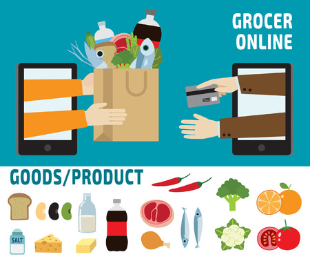 home products: grocery online.delivery.ecommerce business concept.infographic elements.vector flat icons graphic design.banner header illustration.isolated on white and blue background. Illustration