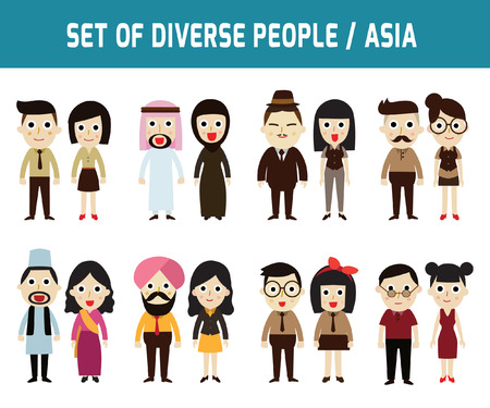 asian business people: Set of full body diverse business people.Different nationalities and dress styles.character cartoon concept.flat modern design. on white background.asian,arab,african,european,american,china,