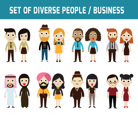 china business: Set of full body diverse business people.Different nationalities and dress styles.character cartoon concept.flat modern design. on white background.asian,arab,african,european,american,china,