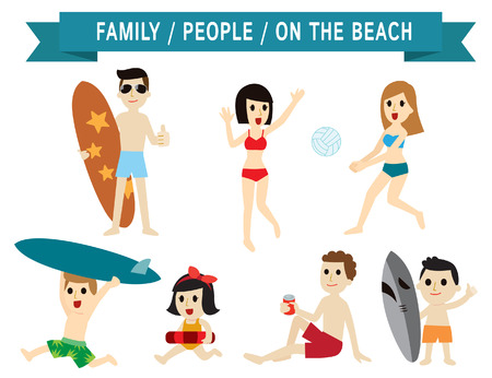 surf team: family on the beach.set of full body diverse people.age and dress are different.character cartoon concept.flat icons modern design. isolated on white background.asian,european,american,caucasian,china,