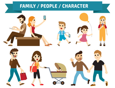 family fun: Set of full body diverse business people.Different nationalities and dress styles.character cartoon concept.flat modern design. on white background.asian,arab,african,european,american,china,