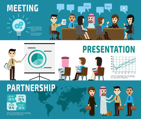 business handshake: meeting. presentation. partnership. banner header.set of full body diverse business people.different nationalities and dress styles.character cartoon business concept.flat modern design.isolated