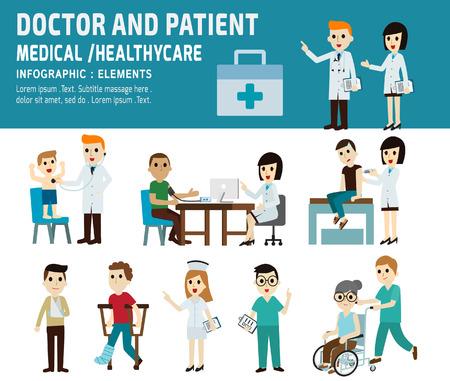 arts en patiënt. gezondheidszorg, medisch concept.infographic element.vector vlakke pictogrammen cartoon. illustration.banner header.isolated op witte en blauwe achtergrond.