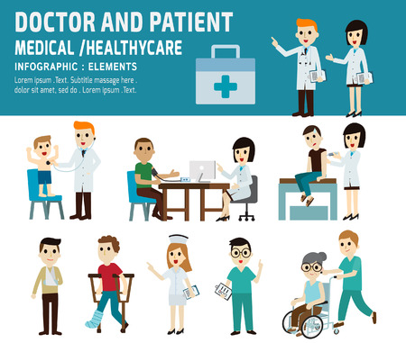 doctor con paciente: médico y paciente. salud, diseño médico element.vector iconos planos de dibujos animados concept.infographic. illustration.banner header.isolated sobre fondo blanco y azul. Vectores