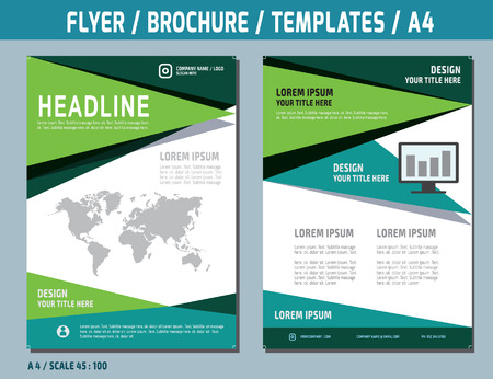 page design: Flyer design vector template in A4 size.brochure booklet cover annual report layout.Business concept illustration.
