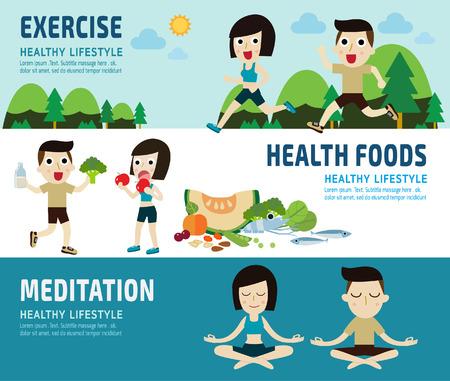 alimentos exercise.healthy. meditating.banner concept.elements header.healthcare infographic.vector plana diseño iconos modernos illustration.isolated sobre fondo blanco y azul.