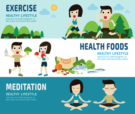 meditation woman: exercise.healthy foods. meditating.banner header.healthcare concept.elements  infographic.vector flat modern icons design illustration.isolated on white and blue background.