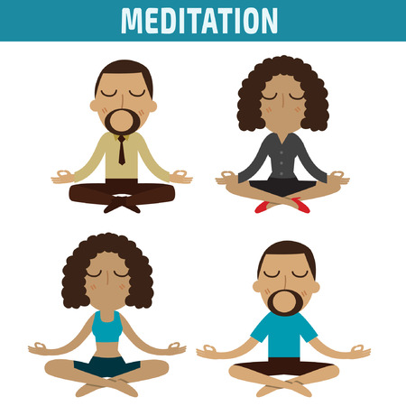 meditation. african american character design. healthcare concept.vector flat modern icons illustration.isolated on white background.
