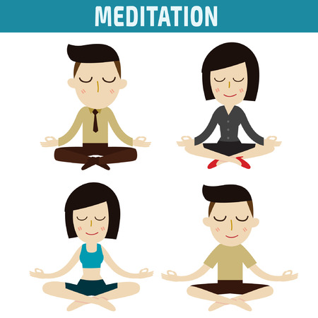 asian business woman: meditation. people character design. healthcare concept.vector flat modern icons illustration.isolated on white background.