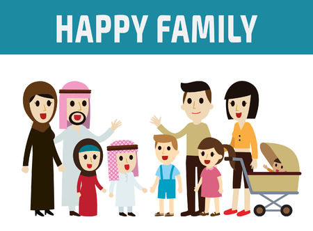 family: arab family and asian family.parents character cartoon concept.full body diverse people.Different nationalities and dress styles.flat modern design. on white background.